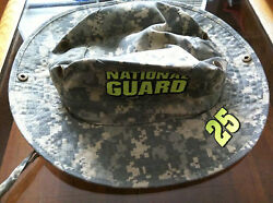 National Guard Army Safari Type Hat Camouflage Small To Medium Fit