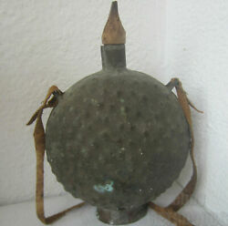 Early Antique Bronze Tin Flask Canteen With Old Leather Strap Handle 1.5 Liters