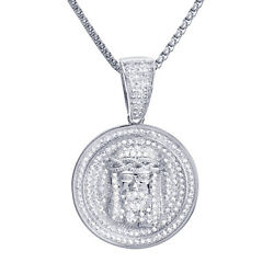 Iced Jesus Medallion Pendant 22 / 24 Stainless Steel Chain Necklace Bsh12857s