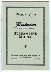 1929 Parts List - Henderson Motorcycle 4 Cyl Streamline - Antique Reproduction