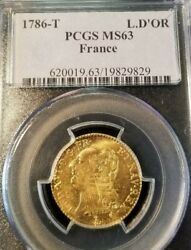 1786 T France Gold Louis Dand039or L.dand039or Pcgs Ms 63 High Grade Nantes Mint Beautiful