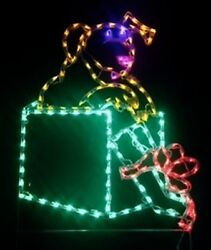 Puppy in Christmas Package Gift Box LED Lighted Decoration Steel Wireframe