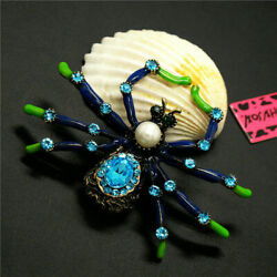 Lady widow Spider Brooch Bugs Wild LifeAqua Crystals & Rhinestones Blue Enam