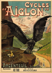 Cycles Aiglon Vintage Bicycle Poster Print Art Advertisement - Cycling - Bike