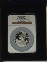 2015 Royal Mint Britannia 5oz Ngc Pf70 Silver Proof Ten Pound Andpound10 Coin Slabbed