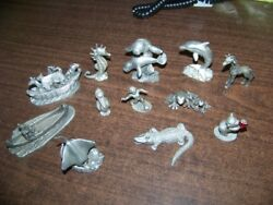 Nice Lot Of 12 Vintage Spoontiques Pewter Figures Sting Ray Ark Bear Other