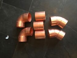 Lot Of 7-3 Copper Pipe Fitting New Sweat 90's , 45's, Couplers