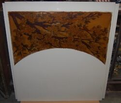 Large Pair Vitrolite Glass Panels Etched Painted Cherry And Dogwood Tree Art Deco