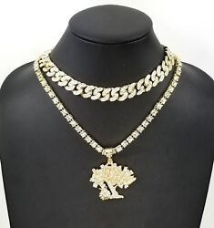 Menand039s Iced Money Tree Pendant 20 Tennis 16/18 Cuban Choker Chain Necklace