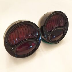 1928-31 Ford Model A Tail Lights With Red Ribbed Lens All Black - 1 Pair