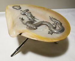 19thC China export mother-of-pearl shell silver dragon mounted by Wa