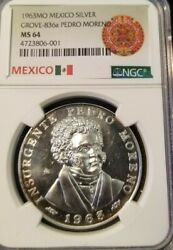 1963 Mexico Silver Medal Grove 836a Pedro Moreno Ngc Ms 64 Only 5000 Minted