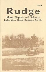 1924 Rudge Motor Bicycles And Side Cars Catalog Antique Reproduction