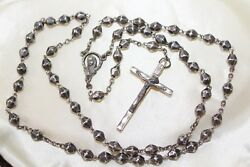 Rare Italy Antique Art Deco Faceted Silver Bead Rosary 15 ìn
