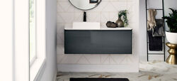 48 Glossy Grey Contemporary Wall Mounted Single Floating Bathroom Vanity Top