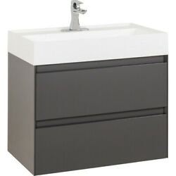 30 Glossy Gray Contemporary Floating Wall Mounted Single Bathroom Vanity + Top
