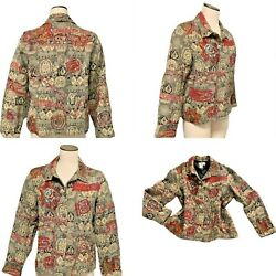 COLDWATER CREEK Tapestry Jacket Sz M Bead Trim Button Front 297P