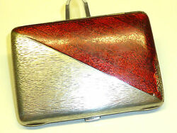 Antique 800 Silver Crescent And Crown Cigarette Case W. Red Enamel - Rare- Nice