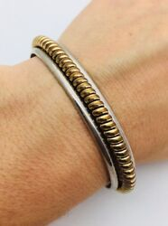 Tahe Sterling Silver 925 And Gold Plated 6.5andrdquo Cuff 22.6g Bracelet Gi26