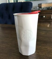 Starbucks Travel Cup Coffee Mug 2013 Siren White With Red Lid 10 Oz