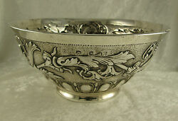 1695 Samuel Hood Sterling Silver Repousse Bowl 640g London 3.75Hx8.5inDI Antique