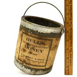Antique Hull's Pure Honey Rare Tin Can/bucket By J.d. Hull And Bro. Honesdale, Pa