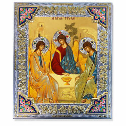 Holy Trinity Serigraph Sterling Silver Gold Plate + Swarovsky Element 15x12 3/4