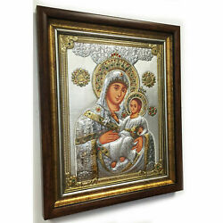 Xd Madonna And Child Silver Icon W/stones Pearls Made In Greece 25x17