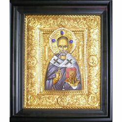 St Nicholas Silver Icon With Stones And Pearls 13 1/2x11 1/2