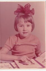 1980s Cute Little Pretty Girl With Books And Bow Old Russian Soviet Photo