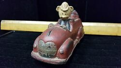 Vintage Antique Sun Rubber Walt Disney Mickey Mouse Toy Firetruck As Found A4-6
