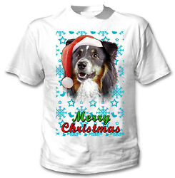 Black Collie Santa snow COTTON WHITE TSHIRT