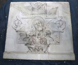 Huge Antique 1800and039s Carved Italian Marble Catholic Church Altar Jesus Sculpture