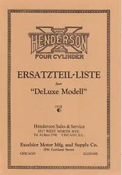 1923-27 Henderson Motorcycle 4 Cyl. Parts List Deluxe - In German - Repro
