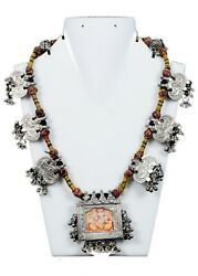 Old Antique Collectible Ethnic Jewelry Tribal Indian Amulets Necklace G10-119