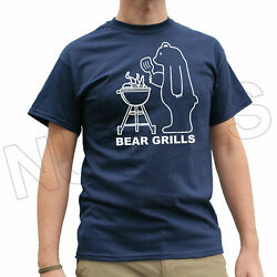 Bear Grills Funny Camping Barbeque Tv Joke Menand039s Ladies Kids T-shirt Vest S-xxl