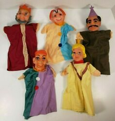 Vintage Hand Puppet Rubber Head Cloth King Queen Jester Wizard Clown Punch Judy