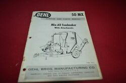 Gehl 50 Mixer Grinder Feed Mill Dealers Parts Book Mfpa