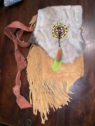 Native American Indian Beaded Real Leather Fur Pouch Bag