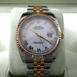 Rolex Midsize  Datejust Two Tone Steel &18k  Yellow Gold w/ White Dial 116233