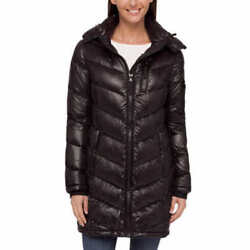 New Andrew Marc Black Packable 650 Down Long Quilted Coat Jacket Hood XS S $116.96