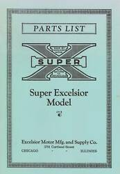 1925-1926 Parts List Super Excelsior Model Motorcycle - Quality Reproduction