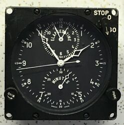 Usaf Aerosonic Swiss Lecoultre Made Abu-3/a Chrono 8 Day Aircraft Clock Lighted
