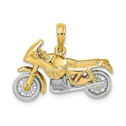 14k 14kt Two-tone 3-d Moveable Motorcycle Charm Pendant 15.5 Mm X 25.2 Mm