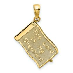 14k 14kt Yellow Gold 3-d Moveable Pages The Lord Is My Shepherdpsalm 23 Charm