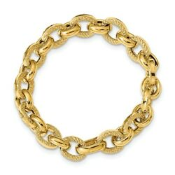 14k 14kt Yellow Gold Polished And Textured Fancy Link Bracelet 7.5 Inch