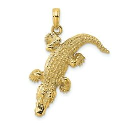 14k 14kt Yellow Gold 3-d Alligator Moveable Mouth Charm Pendant 22 Mm X 28.9 Mm