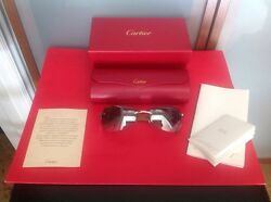 CARTIER WOMANS  $4000 18KT WHITE GOLD PLT. SUNGLASSES LIMITED EDITION NEW IN BOX