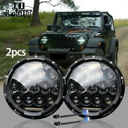 2x 7Inch 75W LED Car Headlights H4-H13 HiLo Beam Round for Offroad Cars Front D