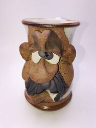 Mahon Ugly Funny Face Mug Mustache Man Smoking Cigarette Cup Signed 5 1/4 Inch